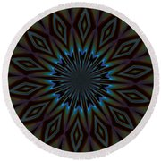 Blue And Brown Floral Abstract Round Beach Towel