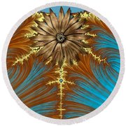 Blue And Brown Synergy Round Beach Towel