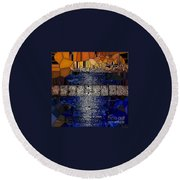 Blue And Gold Stained Abstract Round Beach Towel