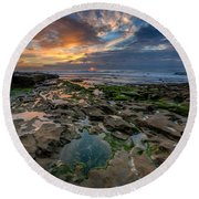 Blue And Gold Tidepools Round Beach Towel
