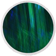 Blue And Green Abstract Round Beach Towel
