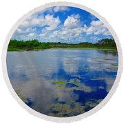 Blue And Green Cay Round Beach Towel