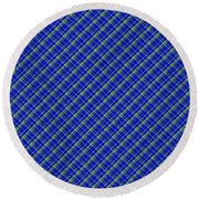 Blue And Green Diagonal Plaid Pattern Cloth Background Round Beach Towel