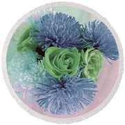 Blue And Green Flowers Round Beach Towel