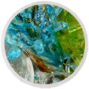Blue And Green Glass Abstract Round Beach Towel