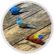 Blue And Indigo Buntings - Three Little Buntings Round Beach Towel