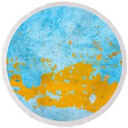 Blue And Orange Wall Texture Round Beach Towel