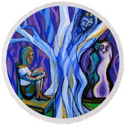 Blue And Purple Girl With Tree And Owl Round Beach Towel