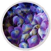 Blue And Purple Hydrangeas Round Beach Towel