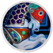 Blue And Red Carousel Horse Round Beach Towel