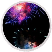 Blue And Red Firework Disks Round Beach Towel