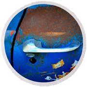 Blue And Rusty Picking Round Beach Towel
