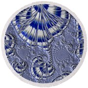 Blue And Silver 1 Round Beach Towel