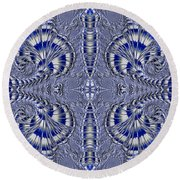 Blue And Silver 2 Round Beach Towel