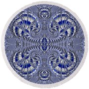 Blue And Silver 3 Round Beach Towel