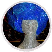 Blue And Silver Girl Round Beach Towel