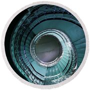 Blue And Silver Spiral Stairs Round Beach Towel