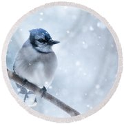 Blue And Snowy Round Beach Towel