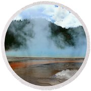 Blue And Steamy Round Beach Towel