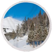 Blue And White Colorado Winter Round Beach Towel