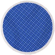 Blue And White Diagonal Plaid Pattern Cloth Background Round Beach Towel