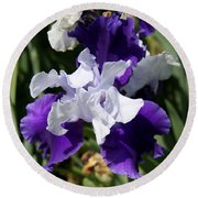 Blue And White Iris Round Beach Towel