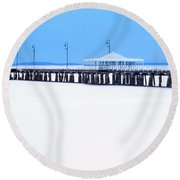 Blue And White Pier Round Beach Towel