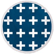 Blue And White Plus Sign Round Beach Towel