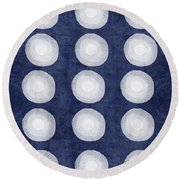 Blue And White Shibori Balls Round Beach Towel
