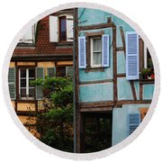 Blue And Yellow Buildings In La Petite Venise In Colmar France Round Beach Towel
