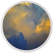 Blue And Yellow Clouds At Sunset With Birds Usa Round Beach Towel