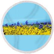 Blue And Yellow Wildflowers Round Beach Towel