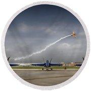 Blue Angels Fa 18 With Grumman Biplane Round Beach Towel