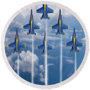 Blue Angels Round Beach Towel by J Biggadike