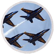 Blue Angels Over Colorado Round Beach Towel