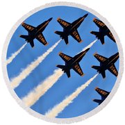 Blue Angels Overhead Round Beach Towel by Benjamin Yeager