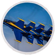 Blue Angels Single File Round Beach Towel