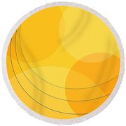 Blue Arcs Through Orange Landscape Round Beach Towel