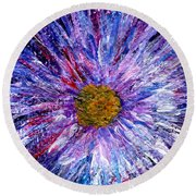 Blue Aster Miniature Painting Round Beach Towel