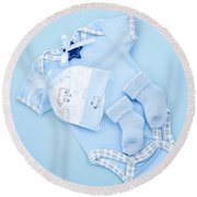 Blue Baby Clothes For Infant Boy Round Beach Towel by Elena Elisseeva