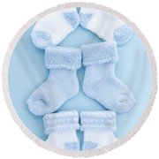 Blue Baby Socks Round Beach Towel by Elena Elisseeva