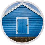 Blue Beach Hut Round Beach Towel