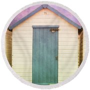 Blue Beach Hut Round Beach Towel