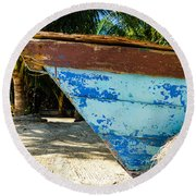 Blue Beached Canoe Round Beach Towel