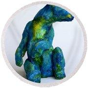 Blue Bear Round Beach Towel by Derrick Higgins