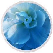 Blue Begonia Flower Round Beach Towel by Jennie Marie Schell