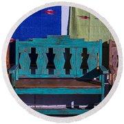 Blue Bench Round Beach Towel