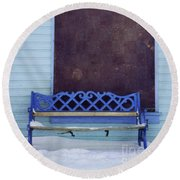 Blue Bench Round Beach Towel