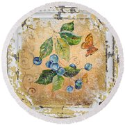 Blue Berries And Butterfly On Vintage Tin Round Beach Towel