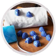 Blue Berries Mini Soaps Round Beach Towel